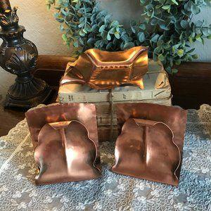 Vintage Gregorian copper book ends & ashtray